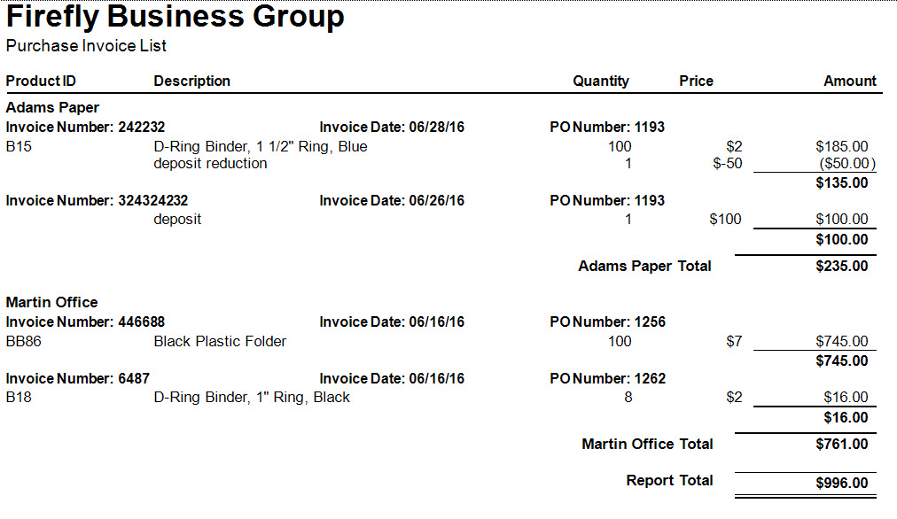 Purchase Invoice List Firefly Business Group
